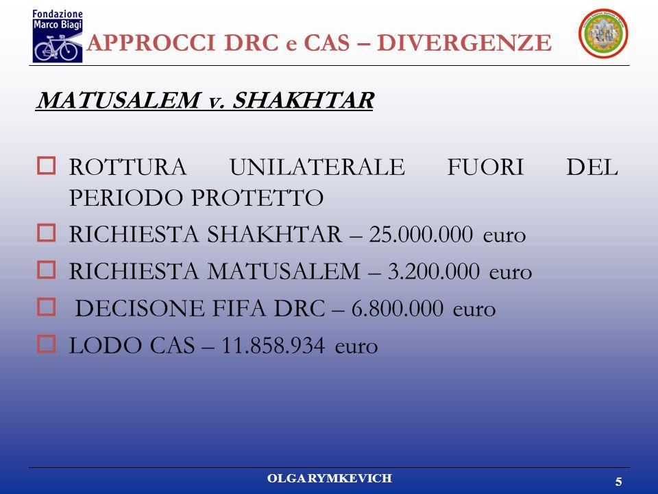 OLGA RYMKEVICH 5 APPROCCI DRC e CAS – DIVERGENZE MATUSALEM v.
