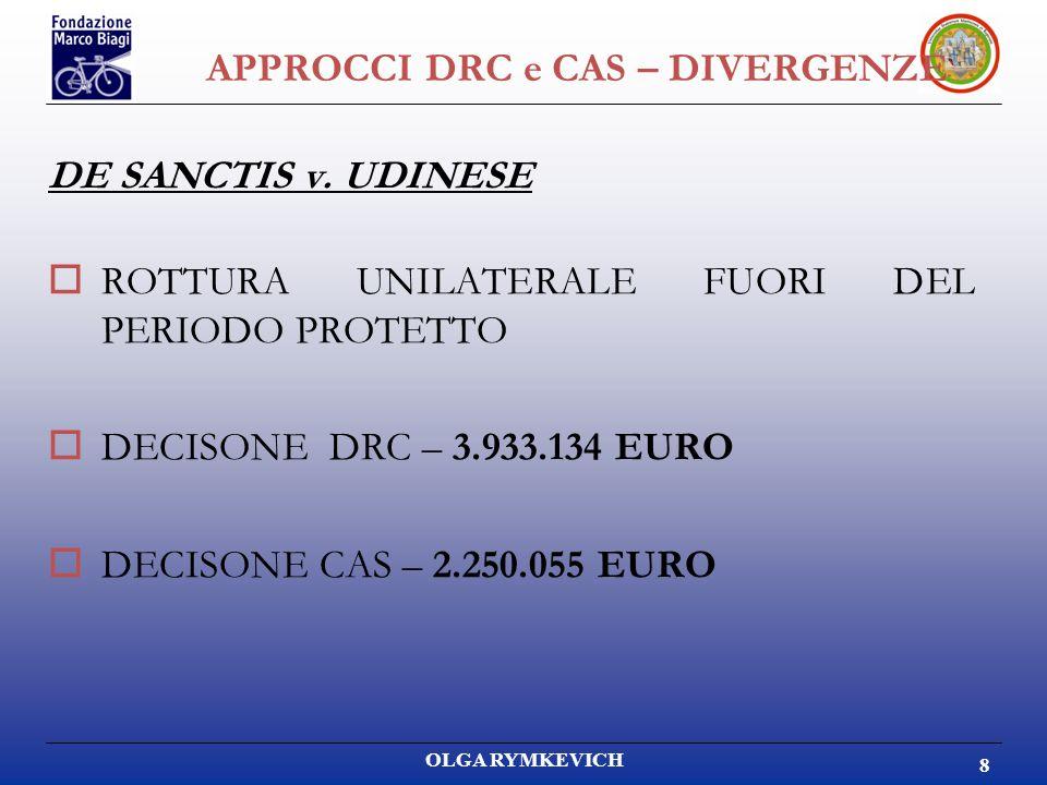 OLGA RYMKEVICH 8 APPROCCI DRC e CAS – DIVERGENZE DE SANCTIS v. UDINESE ROTTURA UNILATERALE FUORI DEL PERIODO PROTETTO DECISONE DRC – 3.933.134 EURO DE