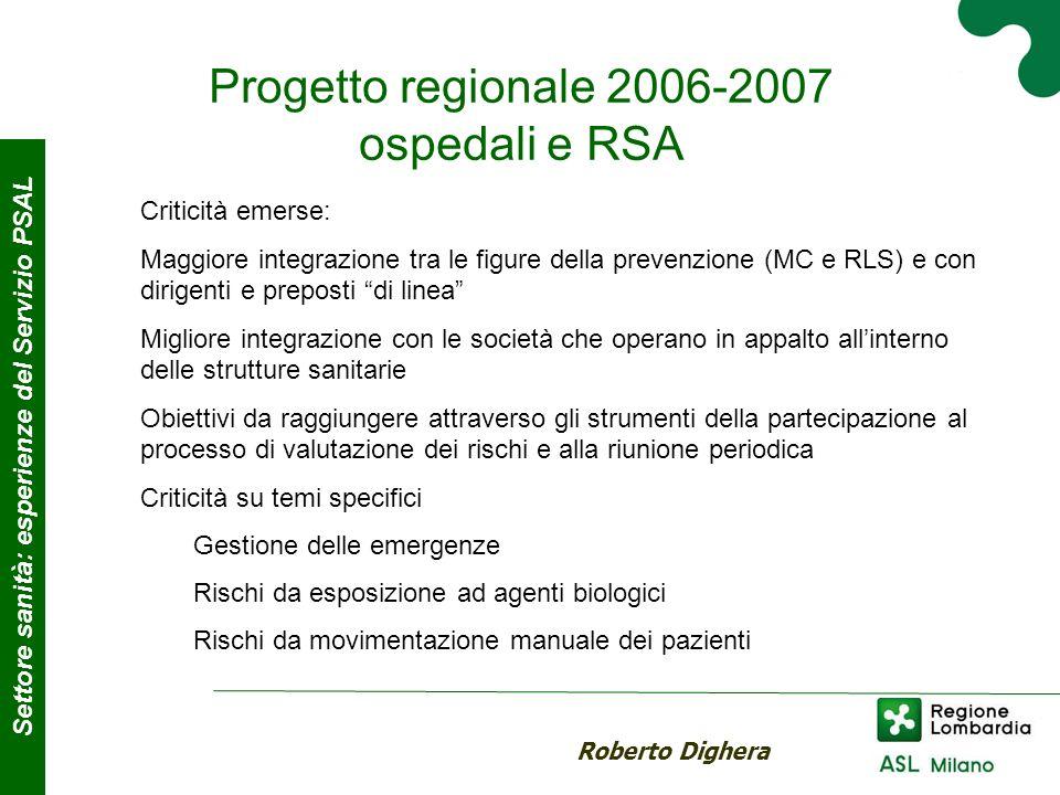Progetto regionale 2006-2007 ospedali e RSA Roberto Dighera Settore sanità: esperienze del Servizio PSAL Criticità emerse: Maggiore integrazione tra l