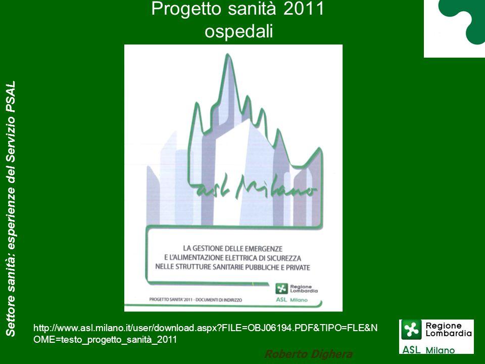Progetto sanità 2011 ospedali Roberto Dighera Settore sanità: esperienze del Servizio PSAL http://www.asl.milano.it/user/download.aspx?FILE=OBJ06194.P