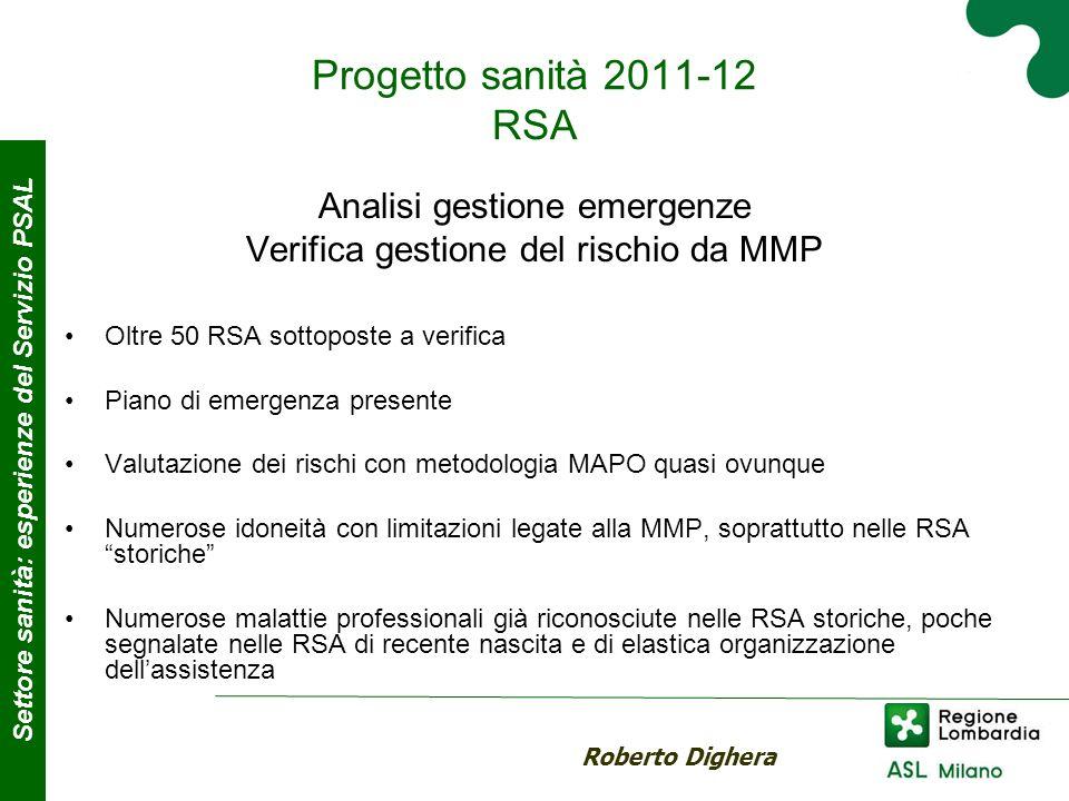 Progetto sanità 2011-12 RSA Analisi gestione emergenze Verifica gestione del rischio da MMP Oltre 50 RSA sottoposte a verifica Piano di emergenza pres