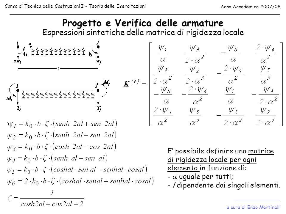 Progetto e Verifica delle armature Corso di Tecnica delle Costruzioni I - Teoria delle Esercitazioni Anno Accademico 2007/08 Espressioni sintetiche de