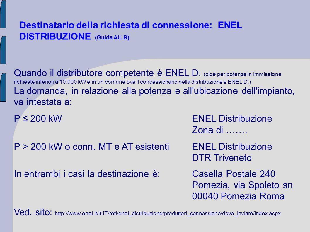 Destinatario della richiesta di connessione: ENEL DISTRIBUZIONE (Guida All. B) Quando il distributore competente è ENEL D. (cioè per potenze in immiss