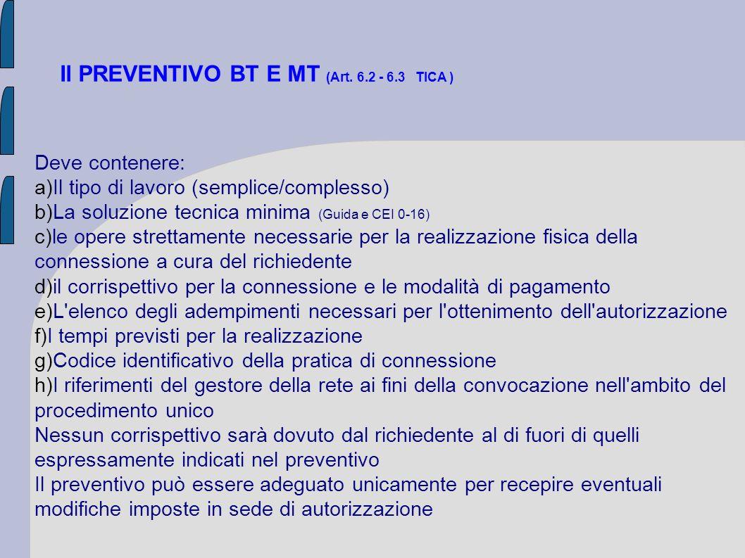 Il PREVENTIVO BT E MT (Art. 6.2 - 6.3 TICA ) Deve contenere: a)Il tipo di lavoro (semplice/complesso) b)La soluzione tecnica minima (Guida e CEI 0-16)