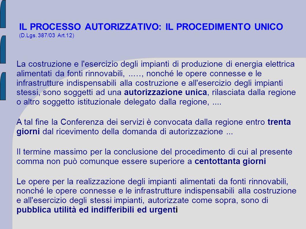 IL PROCESSO AUTORIZZATIVO: IL PROCEDIMENTO UNICO (D.Lgs. 387/03 Art.12) La costruzione e l'esercizio degli impianti di produzione di energia elettrica