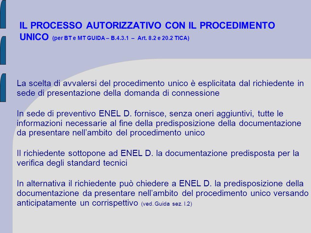 IL PROCESSO AUTORIZZATIVO CON IL PROCEDIMENTO UNICO (per BT e MT GUIDA – B.4.3.1 – Art. 8.2 e 20.2 TICA) La scelta di avvalersi del procedimento unico