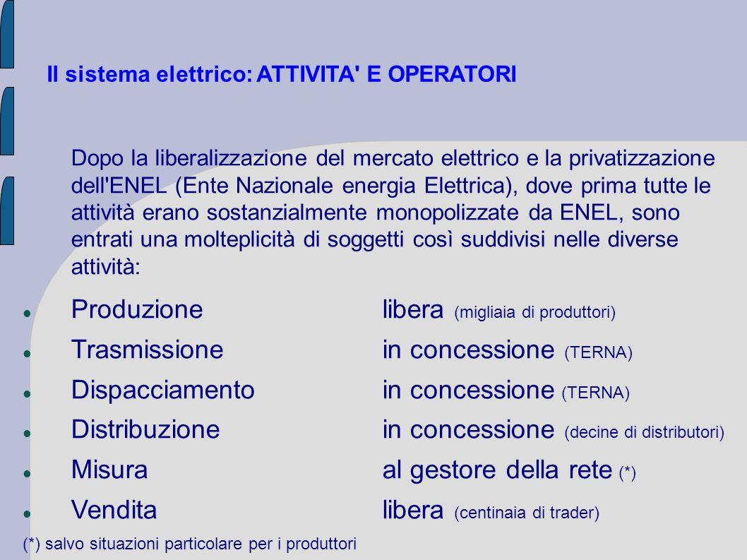 Il sistema elettrico: ATTIVITA E OPERATORI Sono stati inoltre istituiti altri operatori in precedenza non necessari: GSE: Gestore Servizi Energetici con il compito principale di promuovere lo sviluppo delle fonti rinnovabili GME: Gestore Mercati Energetici (società del GSE) per la gestione della Borsa elettrica dove si scambiano le partite di energia elettrica, i certificati verdi e i certificati bianchi AU: Acquirente Unico (società del GSE) per l approvvigionamento di energia per il mercato di maggior tutela Questi soggetti sono di proprietà pubblica