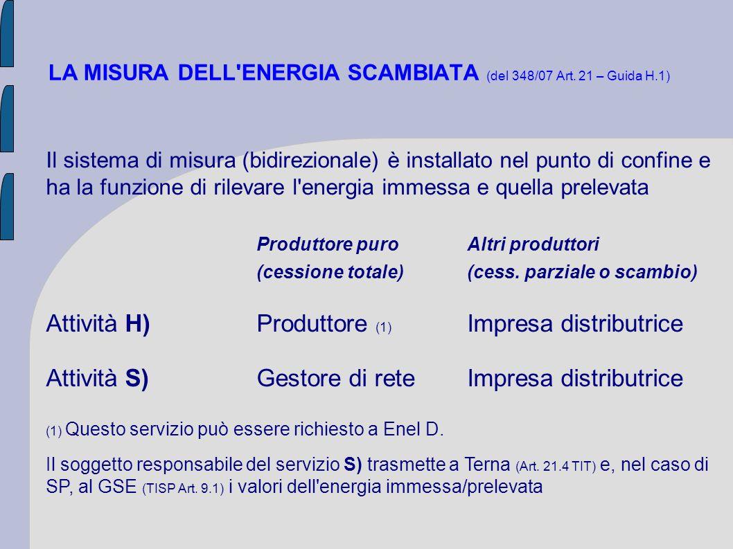 LA MISURA DELL'ENERGIA SCAMBIATA (del 348/07 Art. 21 – Guida H.1) Il sistema di misura (bidirezionale) è installato nel punto di confine e ha la funzi