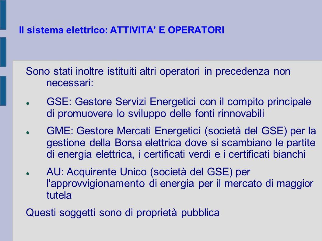 Il sistema elettrico: ATTIVITA' E OPERATORI Sono stati inoltre istituiti altri operatori in precedenza non necessari: GSE: Gestore Servizi Energetici