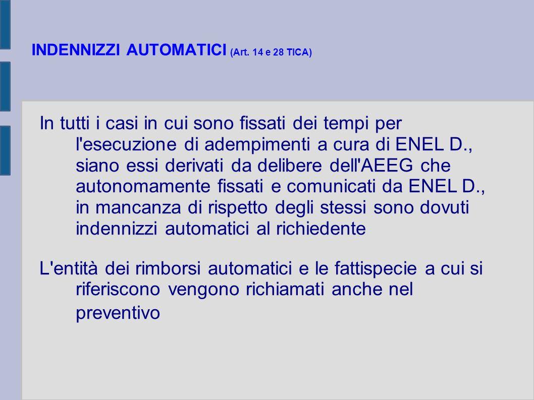 INDENNIZZI AUTOMATICI (Art. 14 e 28 TICA) In tutti i casi in cui sono fissati dei tempi per l'esecuzione di adempimenti a cura di ENEL D., siano essi