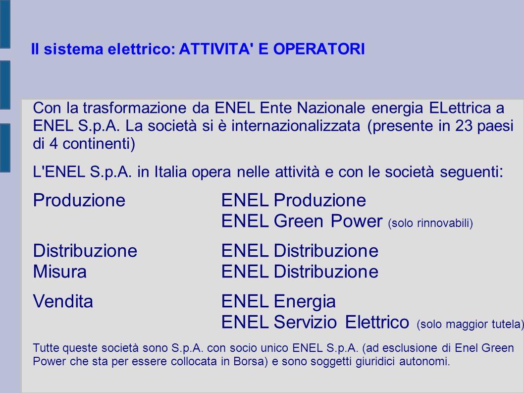 Il sistema elettrico: L AUTORITA PER L ENERGIA ELETTRICA E IL GAS (AEEG) E un autorità indipendente istituita con la legge 14 novembre 1995, n.