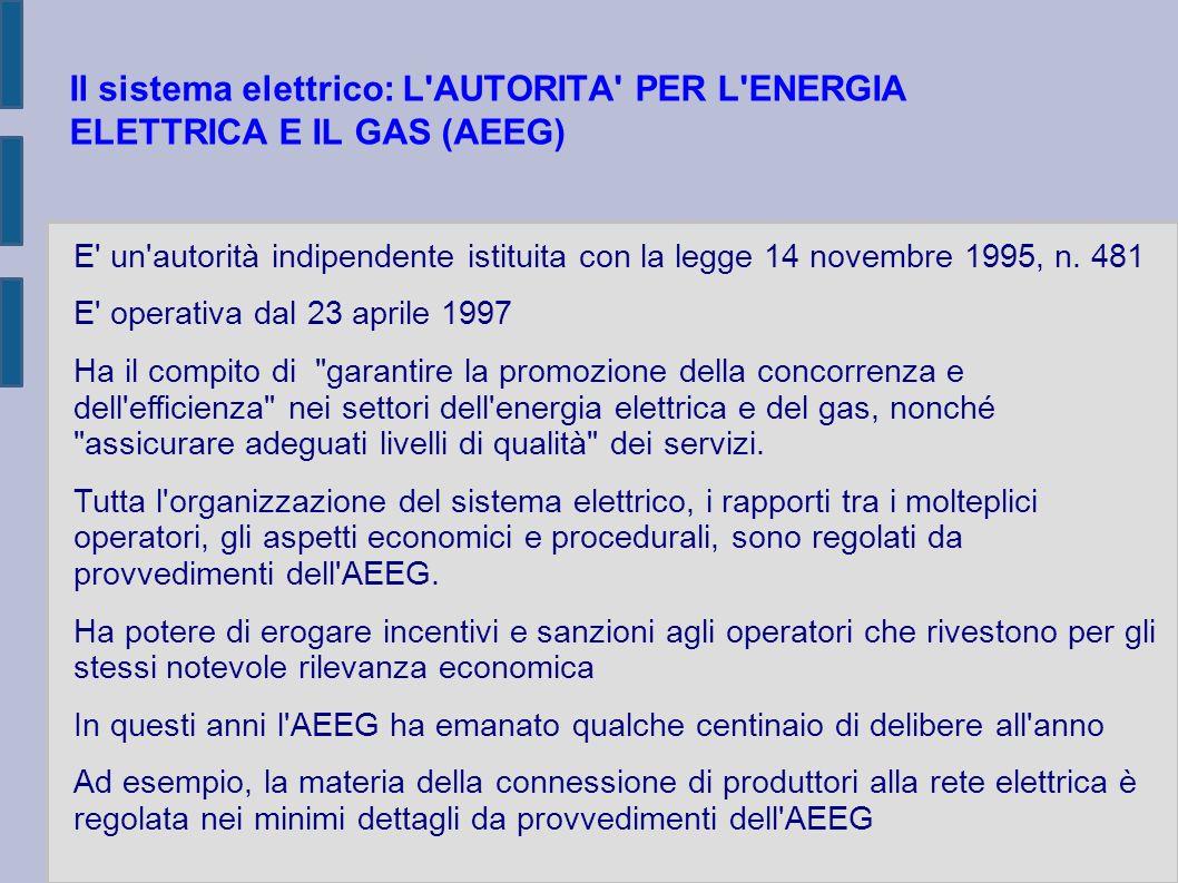 Il sistema elettrico: L'AUTORITA' PER L'ENERGIA ELETTRICA E IL GAS (AEEG) E' un'autorità indipendente istituita con la legge 14 novembre 1995, n. 481