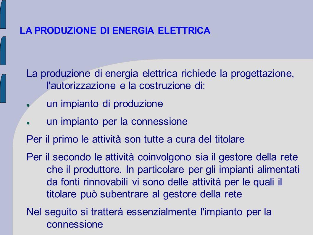 LA PRODUZIONE DI ENERGIA ELETTRICA La produzione di energia elettrica richiede la progettazione, l'autorizzazione e la costruzione di: un impianto di
