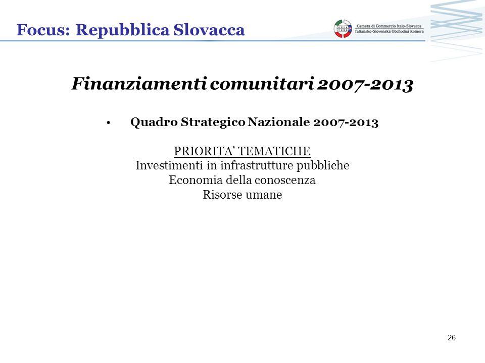 Focus: Repubblica Slovacca Finanziamenti comunitari 2007-2013 Quadro Strategico Nazionale 2007-2013 PRIORITA TEMATICHE Investimenti in infrastrutture