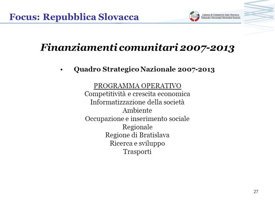 Focus: Repubblica Slovacca Finanziamenti comunitari 2007-2013 Quadro Strategico Nazionale 2007-2013 PROGRAMMA OPERATIVO Competitività e crescita econo