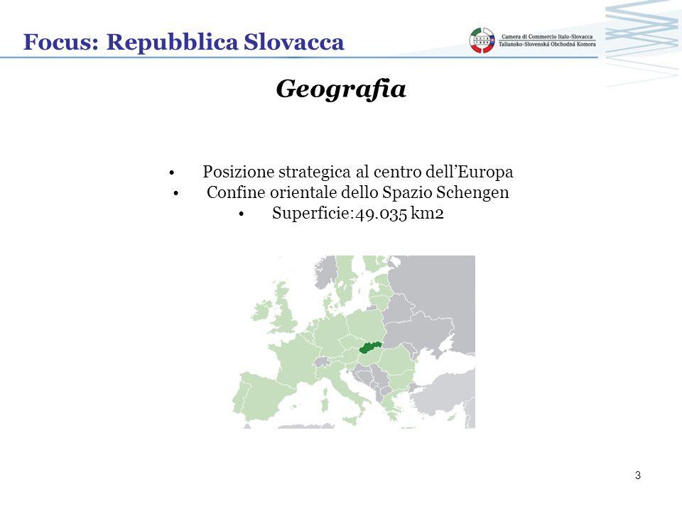 Focus: Repubblica Slovacca Geografia 350 milioni di potenziali clienti nel raggio di 1000 km quasi intera Unione Europea nel raggio di 2000 km Porta dingresso verso i Balcani e altri 440 milioni di abitanti Stati confinanti: Repubblica ceca, Austria, Ungheria, Ucraina, Polonia 4