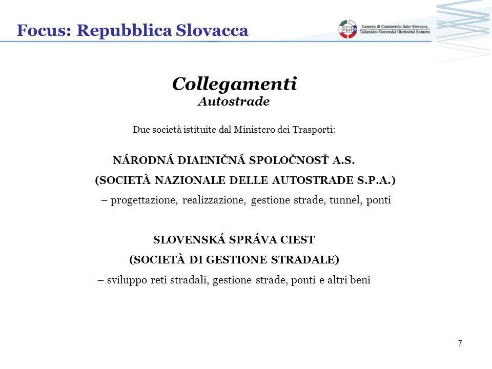 Focus: Repubblica Slovacca Collegamenti Autostrade Due società istituite dal Ministero dei Trasporti: NÁRODNÁ DIAĽNIČNÁ SPOLOČNOSŤ A.S. (SOCIETÀ NAZIO