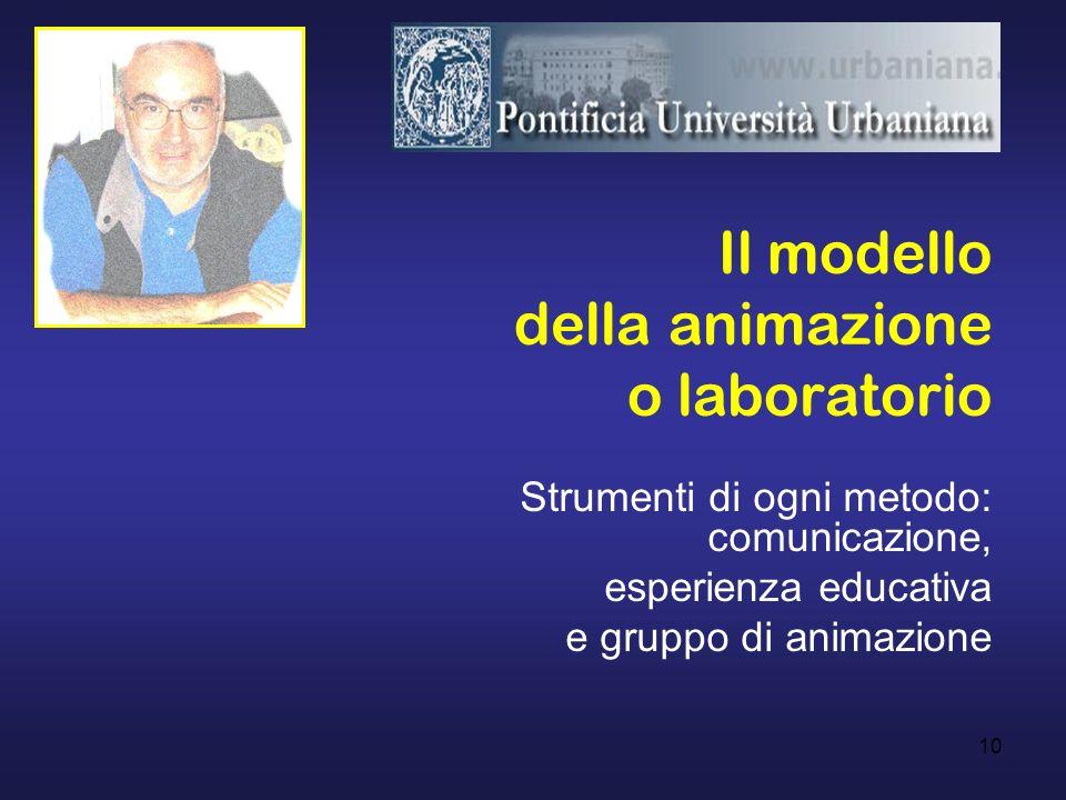 10 Il modello della animazione o laboratorio Strumenti di ogni metodo: comunicazione, esperienza educativa e gruppo di animazione