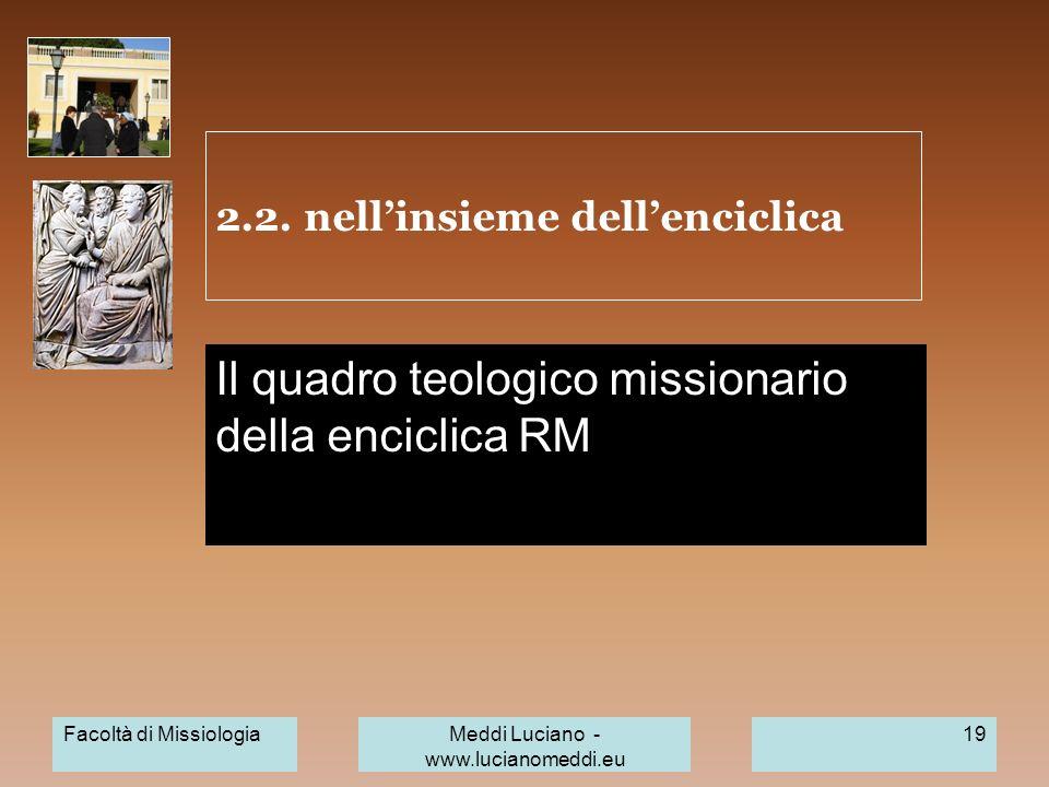 2.2. nellinsieme dellenciclica Il quadro teologico missionario della enciclica RM Facoltà di MissiologiaMeddi Luciano - www.lucianomeddi.eu 19