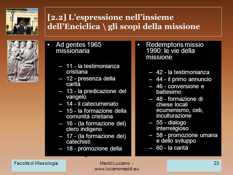 Meddi Luciano - www.lucianomeddi.eu [2.2] Lespressione nellinsieme dellEnciclica \ gli scopi della missione Ad gentes 1965: opera missionaria –11 - la