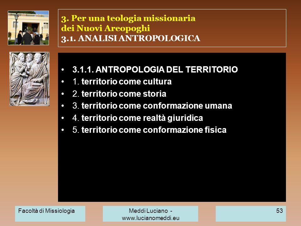 3. Per una teologia missionaria dei Nuovi Areopoghi 3.1. ANALISI ANTROPOLOGICA 3.1.1. ANTROPOLOGIA DEL TERRITORIO 1. territorio come cultura 2. territ
