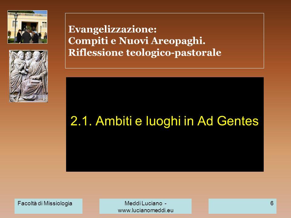 Facoltà di MissiologiaMeddi Luciano - www.lucianomeddi.eu 6 Evangelizzazione: Compiti e Nuovi Areopaghi. Riflessione teologico-pastorale 2.1. Ambiti e
