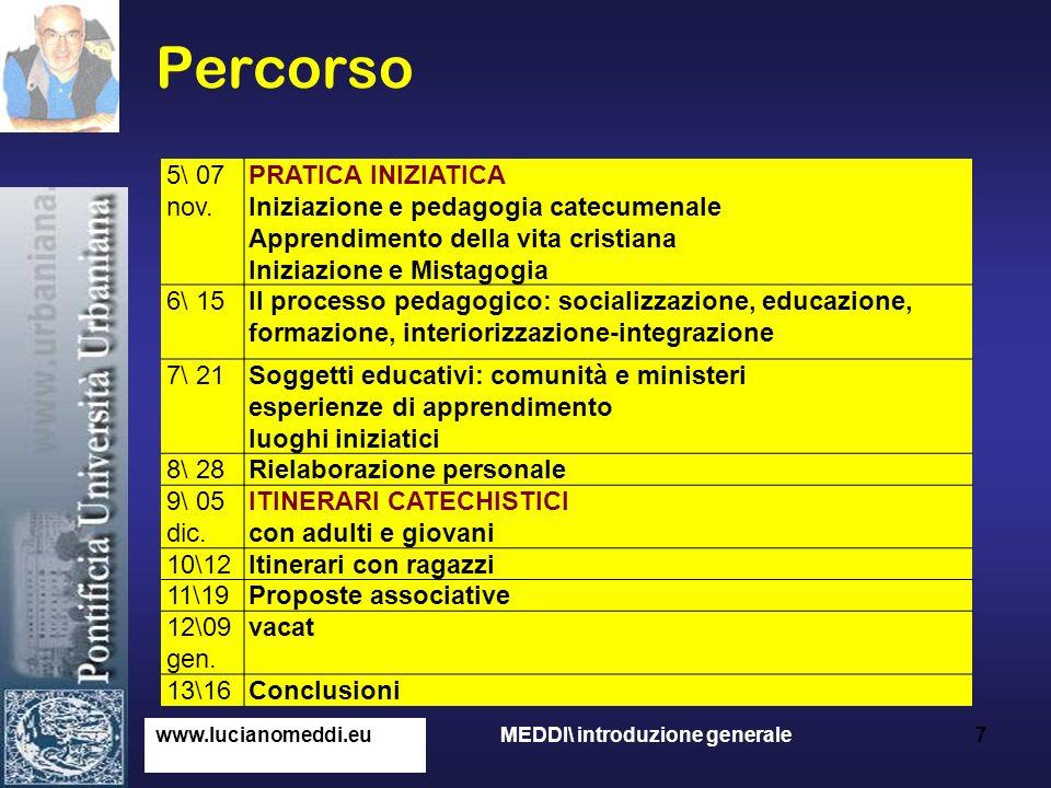 Percorso www.lucianomeddi.eu MEDDI\ introduzione generale 7 5\ 07 nov. PRATICA INIZIATICA Iniziazione e pedagogia catecumenale Apprendimento della vit