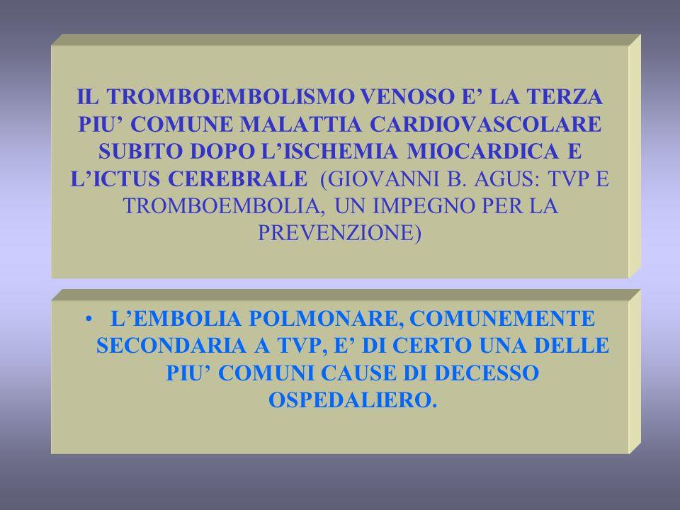 IL TROMBOEMBOLISMO VENOSO E LA TERZA PIU COMUNE MALATTIA CARDIOVASCOLARE SUBITO DOPO LISCHEMIA MIOCARDICA E LICTUS CEREBRALE (GIOVANNI B. AGUS: TVP E