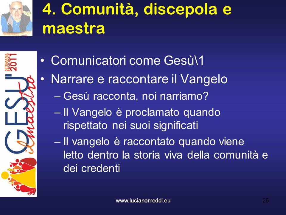 4. Comunità, discepola e maestra www.lucianomeddi.eu25 Comunicatori come Gesù\1 Narrare e raccontare il Vangelo –Gesù racconta, noi narriamo? –Il Vang
