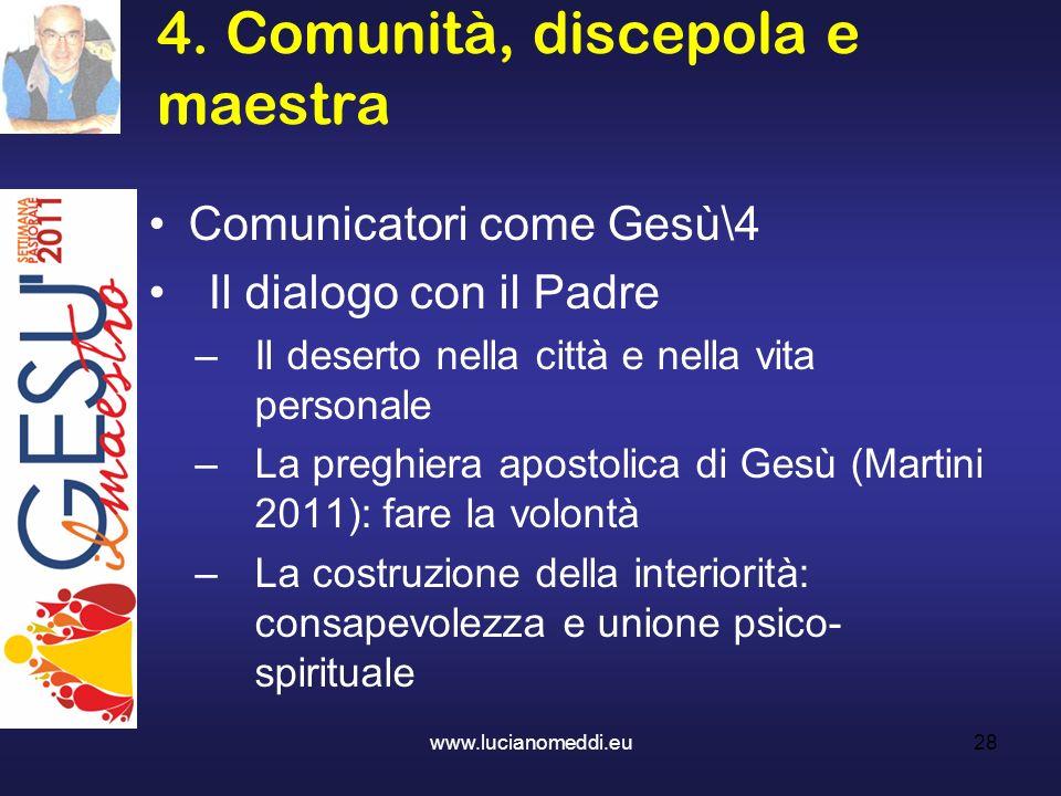4. Comunità, discepola e maestra www.lucianomeddi.eu28 Comunicatori come Gesù\4 Il dialogo con il Padre –Il deserto nella città e nella vita personale