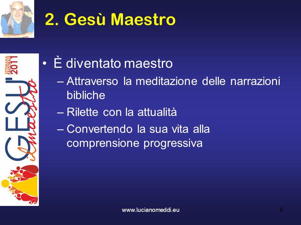 2. Gesù Maestro È diventato maestro –Attraverso la meditazione delle narrazioni bibliche –Rilette con la attualità –Convertendo la sua vita alla compr