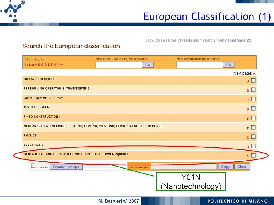 M. Barbieri © 2007 European Classification (1) Y01N (Nanotechnology)