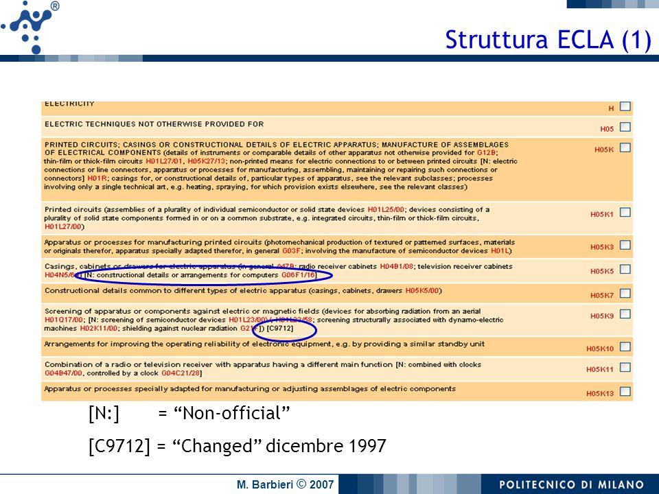 M. Barbieri © 2007 [N:] = Non-official [C9712] = Changed dicembre 1997 Struttura ECLA (1)