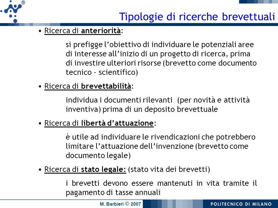M. Barbieri © 2007 Tipologie di ricerche brevettuali Ricerca di anteriorità: si prefigge lobiettivo di individuare le potenziali aree di interesse all