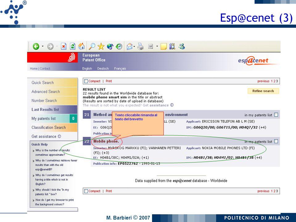 M. Barbieri © 2007 Testo cliccabile rimanda al testo del brevetto Esp@cenet (3)