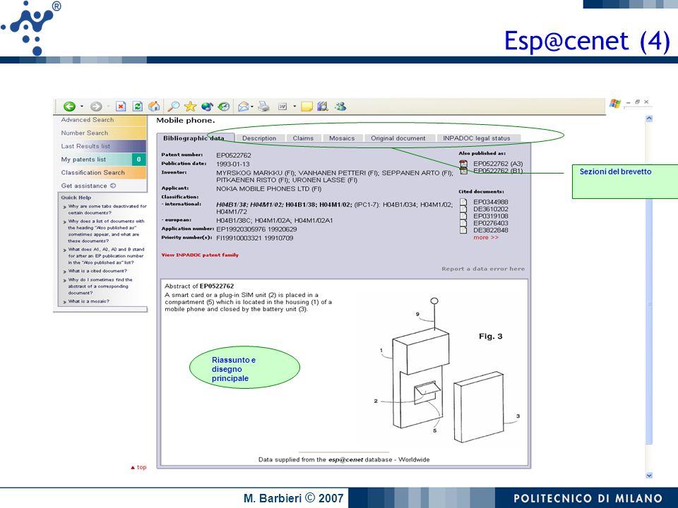 M. Barbieri © 2007 Riassunto e disegno principale Sezioni del brevetto Esp@cenet (4)