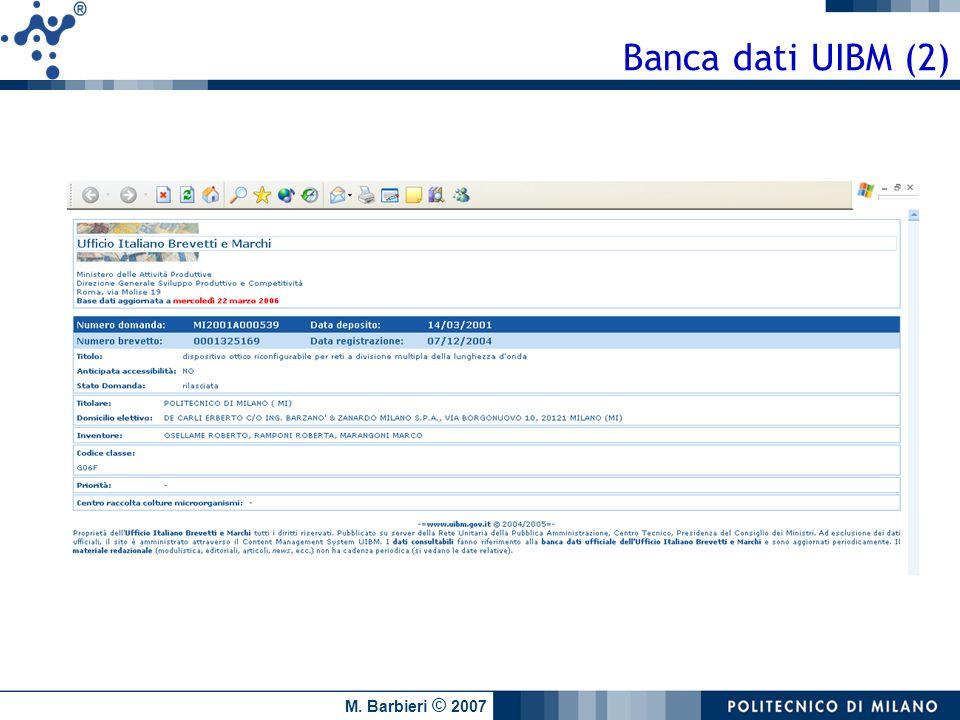 M. Barbieri © 2007 Banca dati UIBM (2)