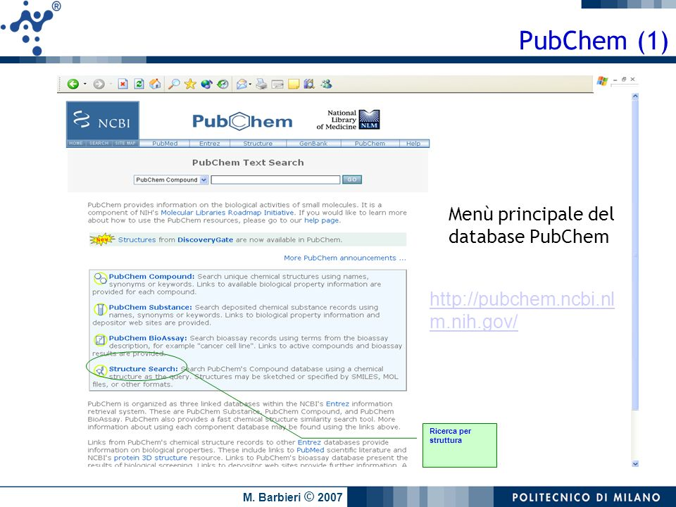M. Barbieri © 2007 PubChem (1) Ricerca per struttura Menù principale del database PubChem http://pubchem.ncbi.nl m.nih.gov/