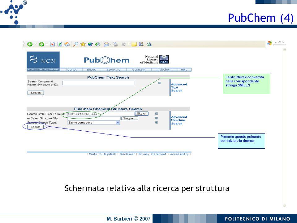 M. Barbieri © 2007 La struttura è convertita nella corrispondente stringa SMILES Premere questo pulsante per iniziare la ricerca PubChem (4) Schermata