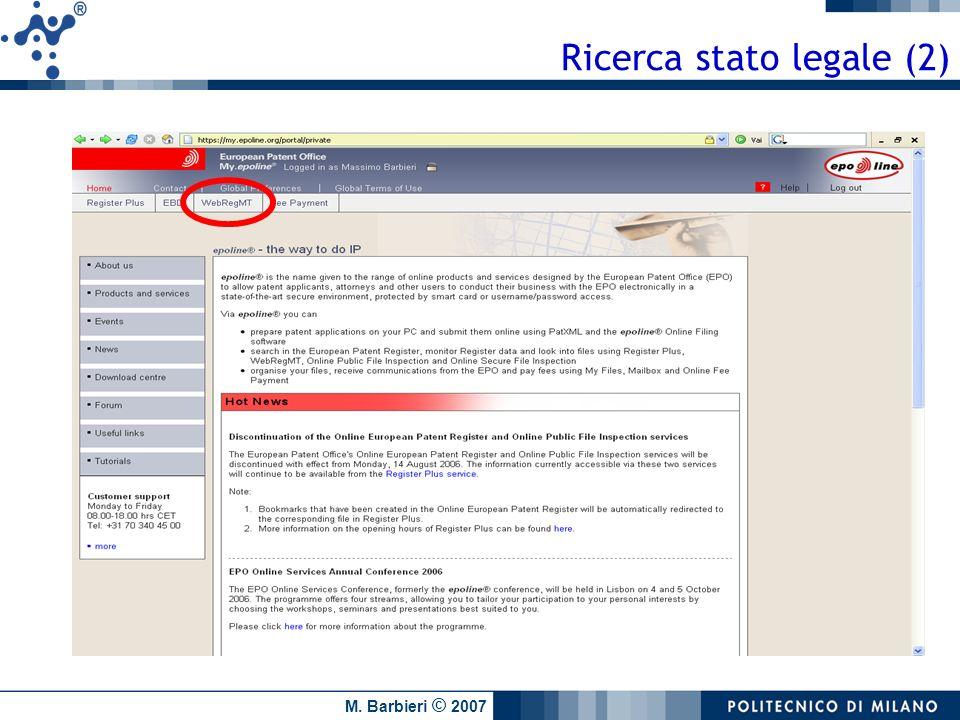 M. Barbieri © 2007 Ricerca stato legale (2)