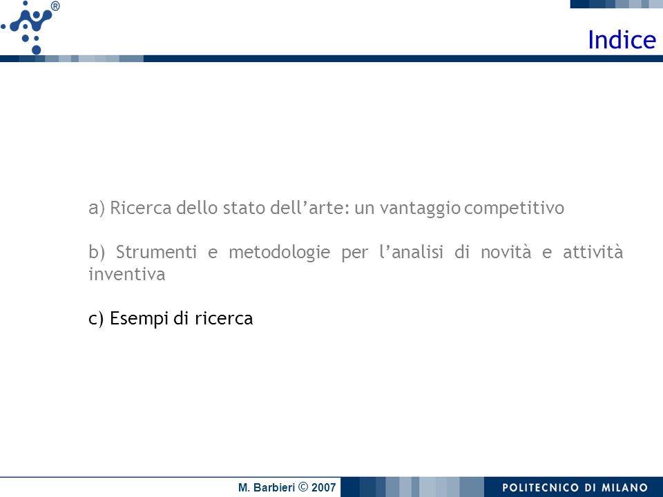 M. Barbieri © 2007 Indice a) Ricerca dello stato dellarte: un vantaggio competitivo b) Strumenti e metodologie per lanalisi di novità e attività inven