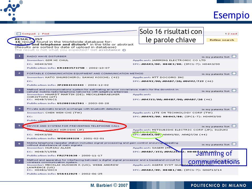 M. Barbieri © 2007 Solo 16 risultati con le parole chiave Jamming of communications Esempio