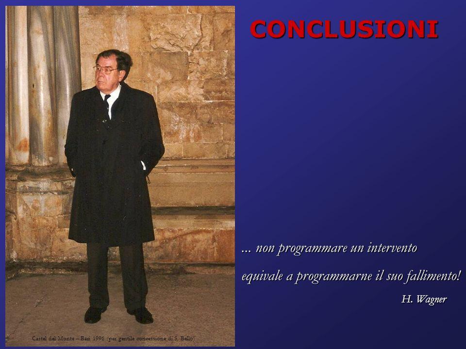 Castel del Monte – Bari 1996 (per gentile concessione di S. Bello)... non programmare un intervento equivale a programmarne il suo fallimento! H. Wagn
