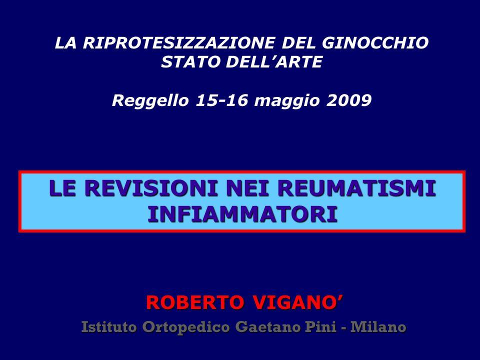 LE REVISIONI NEI REUMATISMI INFIAMMATORI ROBERTO VIGANO Istituto Ortopedico Gaetano Pini - Milano LA RIPROTESIZZAZIONE DEL GINOCCHIO STATO DELLARTE Re