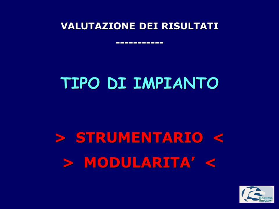 VALUTAZIONE DEI RISULTATI ----------- TIPO DI IMPIANTO > STRUMENTARIO STRUMENTARIO < > MODULARITA MODULARITA <