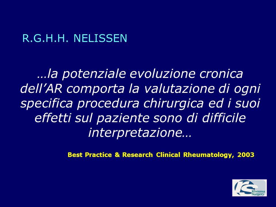 …la potenziale evoluzione cronica dellAR comporta la valutazione di ogni specifica procedura chirurgica ed i suoi effetti sul paziente sono di diffici