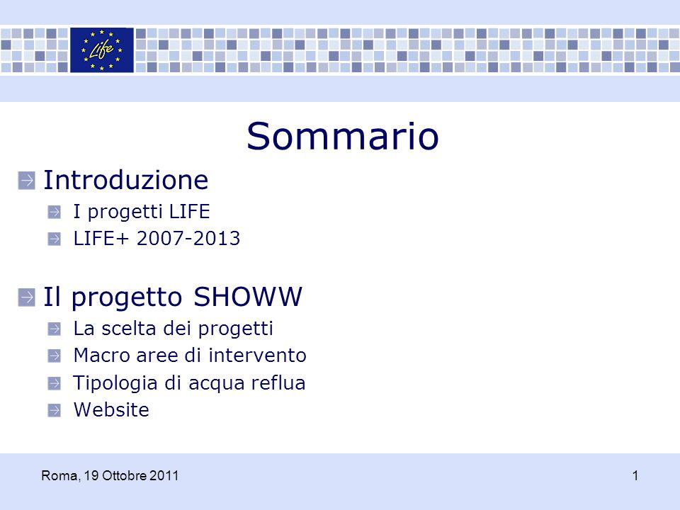 I progetti LIFE Lobiettivo del LIFE è di contribuire, attraverso il finanziamento di progetti, allimplementazione e allo sviluppo delle politiche europee in campo ambientale Il LIFE nasce nel 1992 1992 2006 3104 progetti co-finanziati 2.2 miliardi di euro investiti per la protezione ambientale Introduzione Roma, 19 Ottobre 20112