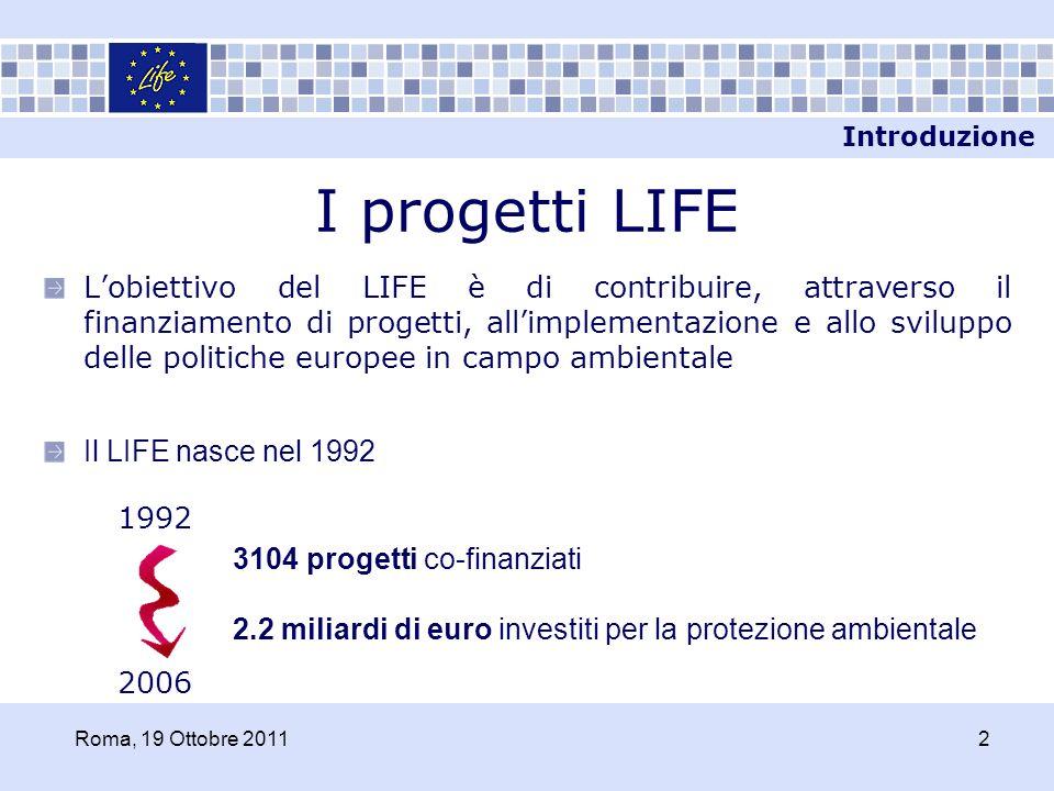LIFE+ Linee di azione 20072013 Nature & Biodiversity Environment Policy & Governance Information & Communication SHOWW Introduzione Roma, 19 Ottobre 20113