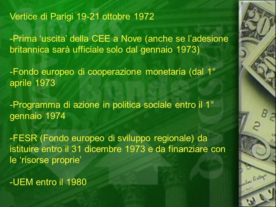 Vertice di Parigi 19-21 ottobre 1972 -Prima uscita della CEE a Nove (anche se ladesione britannica sarà ufficiale solo dal gennaio 1973) -Fondo europe