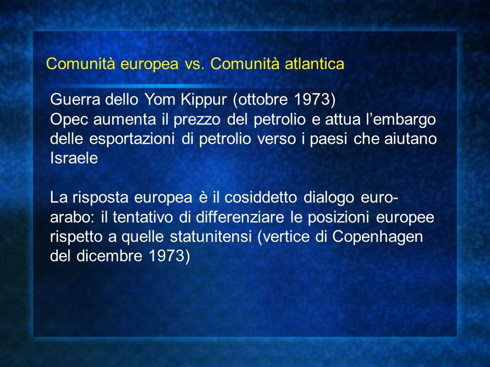 Comunità europea vs. Comunità atlantica Guerra dello Yom Kippur (ottobre 1973) Opec aumenta il prezzo del petrolio e attua lembargo delle esportazioni